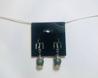 Gem and druzy bead earrings. Nickel free.