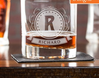 Etched Whiskey Glass, Gift For Husband, Whiskey Glass, Personalized Glass, Initials Glass, Rocks Glass, Engraved Whiskey Glass, Gift For Him