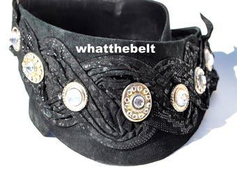 Vintage Belt NINA ARJANI Wide Black Leather Rhinestone Leatherock 1992