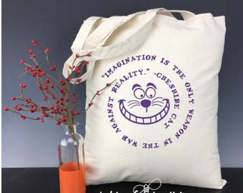 Imagination is the only Weapon in the War Against Reality - Inspired by Quote from the Cheshire Cat Light Weight Tote Bag