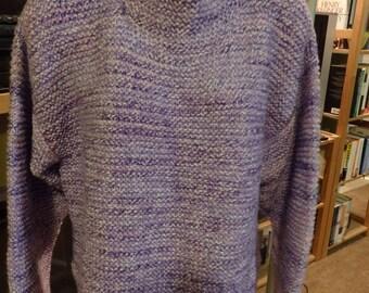 Hand Knit lite purple mock turtle neck sweeter