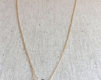 Quartz crystal gemstone gold necklace