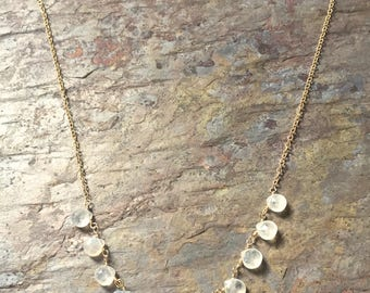 Moonstone gemstone gold statement necklace