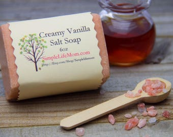 SALT SOAP SPA Bar - 100% all natural, detoxing, creamy vanilla scent, essential oils, Handmade, cold processed, Herbal, Himalayan Sea Salt