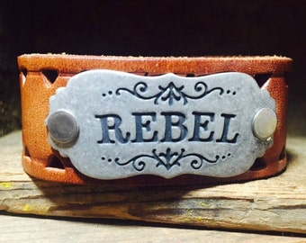 Upcycled Brown Leather Cuff Stamped with Rebel//Gifts for her