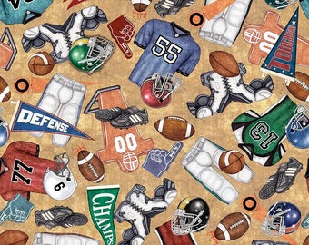 Everything Football Fabric; You Choose Size; 26174-A; Quilting Treasures; Sports Fabric; Gridiron; Footballs; Helmet; Jersey
