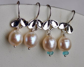Pretty Pear Petal Earrings - with or without Aquamarine