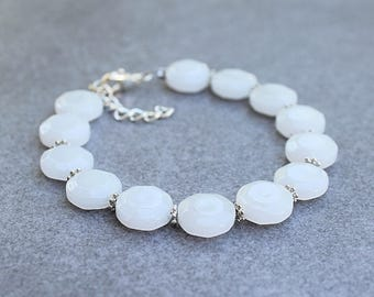 White Bracelet, White Quartz Bracelet, White Bead Bracelet, Quartz Gemstone Bracelet, White Bangle, White and Silver Bracelet, White Beads