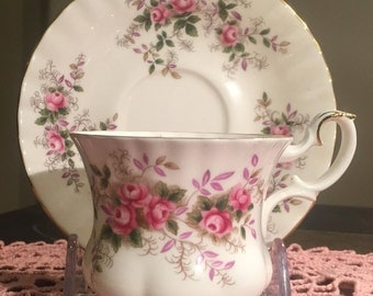 ROYAL ALBERT Bone China Lavender Rose Demi-Tasse Cup and Saucer Made in England