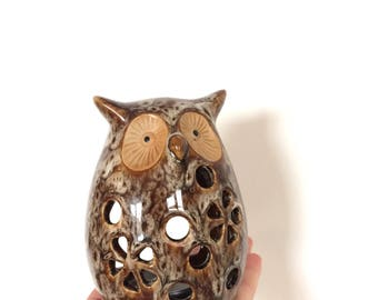 Vintage Ceramic Owl, Tealight holder, Candle holder