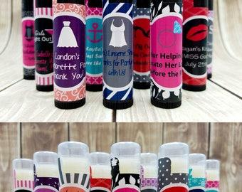 Custom Bachelorette Party | Lingerie Shower | Bachelorette Party Favors | 10 Pink Lip Balm Favors