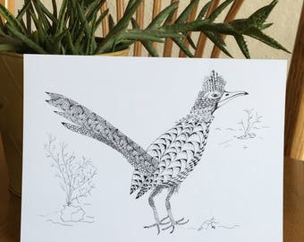 Roadrunner card, Southwest animal card, pen and ink, black and white