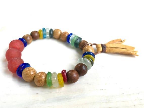 Boho Tassel Bracelet, Bohemian Jewelry, Tassel Jewelry, Gypsy Bracelet, African Fair Trade, Stretch Bracelet, Hippie Bracelet