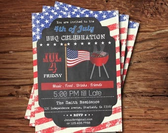 4th of July Invitation, Fourth of July Party, BBQ, Cookout, Holiday, Independence Day, Celebration Party digital printable invite J4002