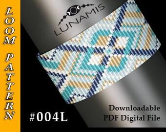 Loom bracelet pattern, loom pattern, square stitch pattern, pdf file, pdf pattern, cuff, #004L