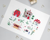 A4 Tiny Houses Art print | Painted Illustrated novelty homes | Botanical wall art | home decor | fun village | food fun gift | colourful