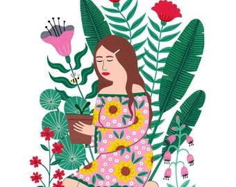 A4 (210 × 297mm) Gardening Girl art print | Botanical Wall art | Floral Home decor | woman in a garden | Gift for plant lover | Illustration