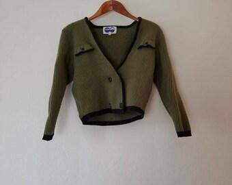 Crop Moss Wool Pullover // Earthy  Top