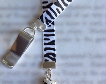Zebra Bookmark / Zebra Lover gift / Cute Bookmark - Attach to book cover then mark the page with the ribbon. Never lose your bookmark