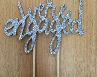 We're Engaged Card Cake Topper - any colour including ROSE GOLD