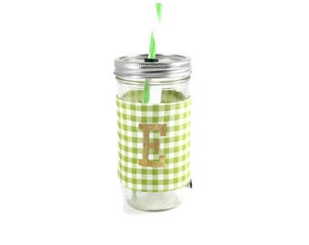 Green and White Gingham Mason Jar Tumbler, Monogrammed Tumbler, Gingham Monogram Tumbler, Mason Jar Gingham Tumbler,Unique Gift,Personalized