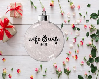 Gift for Lesbian  Couple, Wedding Ornament, Tree Decoration for Bridal Party, Present for Wedding Anniversary Bachelorette  Party Gift