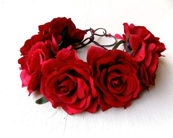 The Bertha flower crown, gorgeous red rose headband OR hat band, bohemian floral headpiece with large oversized red roses