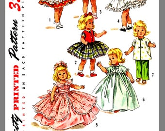 "Doll's Clothes Vintage Doll's Wardrobe Alexander-Kins Ginny Muffie 8"" doll fabric sewing Pattern #1809 Copy / Reprint"