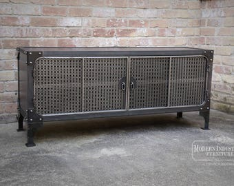 TV Stand Media Console Cabinet Vintage Industrial Modern | Entertainment Center | Audio | HiFi Retro