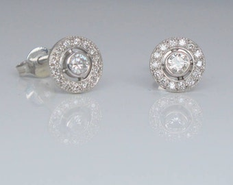Handmade 9ct white gold diamond halo earrings