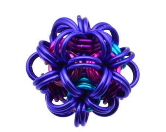 "Purple Chainmaille Kit: Dodecahedron - Double Pendant Kit - Intermediate - Instructions sold separately - ""Purple Power"" Edition"