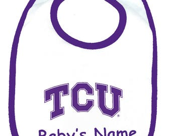 Texas Christian TCU Horned Frogs Personaized Baby Bib