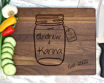 Rustic Wedding - Personalized Cutting Board - Wedding Gift - Personalized - Gift For Her - Mason Jar - Country Wedding - Rustic - Handmade