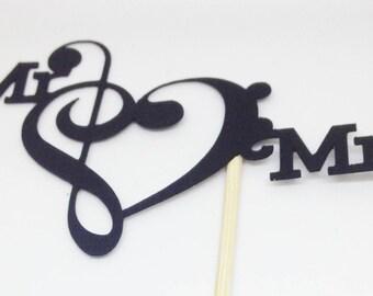 Mr & Mrs Large Treble Clef Bass Clef Cake Topper - Music Wedding