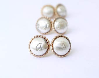 Personalized Bubble Post Earrings/ Block Initial Stud Earring/ Script Initial Stud Earring/ Love Jewelry/ Minimalistic Jewelry/ Bare and Me