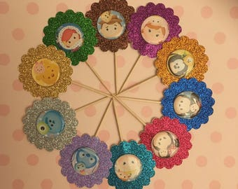 Tsum Tsum Cupcake Toppers, My Jewel Collection of Tsum Tsums, Party Favor, Cupcake Topper, Birthday Toppers, Double Sided Toppers,Decoration