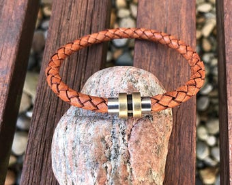 Mens Leather Bracelet With Stainless Steel Magnetic Clasp, Mens Bracelet in 6 Colors, Braided Bolo Leather, Gifts Under 20, CS-21