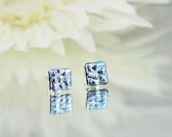 Fused Glass Stud Earrings - Dichroic Glass Earrings - Silver Dichroic Glass - Sterling Silver Stud Earrings.  JBT396