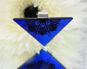 Fused Glass Pendant - Unique Hand Engraved Dichroic Glass - Wearable Modern Art - Fused Glass Jewellery - Sterling Silver  JBT432