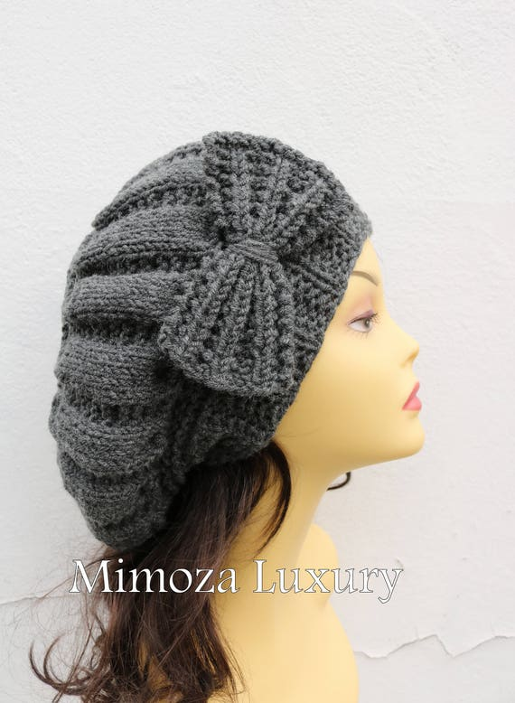 Dark Gray Woman Hand Knitted Hat with Bow, Grey Beret hat with bow, gray knit hat, slouchy knit women's hat with bow, winter hat, grey women