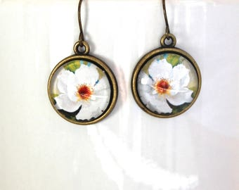 White Rose Flower Floral Earrings Antique Brass Finish Pierced Ear Dangle Earrings