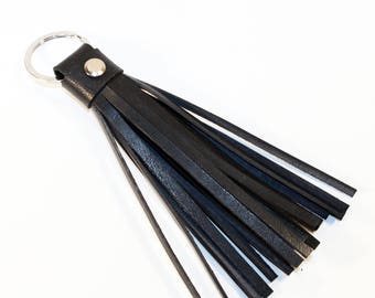 Leather Tassel Keychain. Black Leather Keychain. 100% Handmade key chain! Great gift!