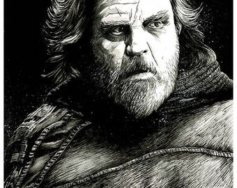 STAR WARS - The Last Jedi: Luke Skywalker (Mark Hamill) original A3 ink drawing portrait