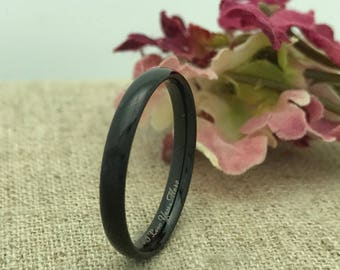 3mm Tungsten Wedding Ring, Personalized  Custom Engraved BLACK IP Plated Tungsten Ring, Unisex Ring, Promise Ring