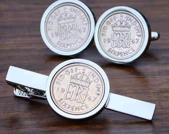 Sixpence Coin Cufflinks and Tie Clip - SILVER - 1947-67  - BIRTH YEAR - Anniversary Cufflinks