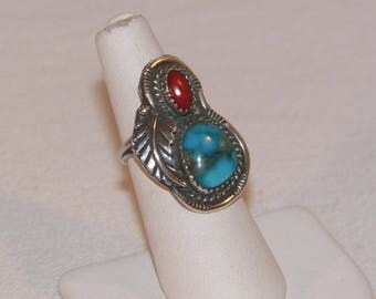 Size 5 Sterling Silver Southwestern Feather Ring, Old Native American Style Ring, Sterling Silver Ring With Natural Turquoise And Red Coral