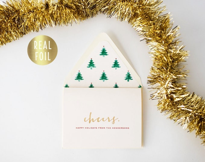 christmas cards - holiday cards - personalized - gold foil (set of 10) - non photo christmas holiday corporate cards christmas liners