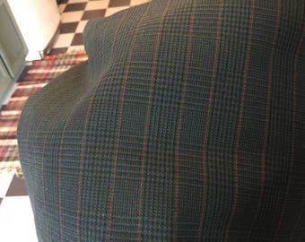 1.5  wool suiting vintage fabric Black plaid slacks jacket pillows
