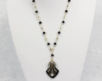 Great Gatsby Necklace - Gold & Black - art deco necklace 1920s wedding jewelry