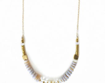 Agate and Moonstone Necklace - Gold Filled Chain